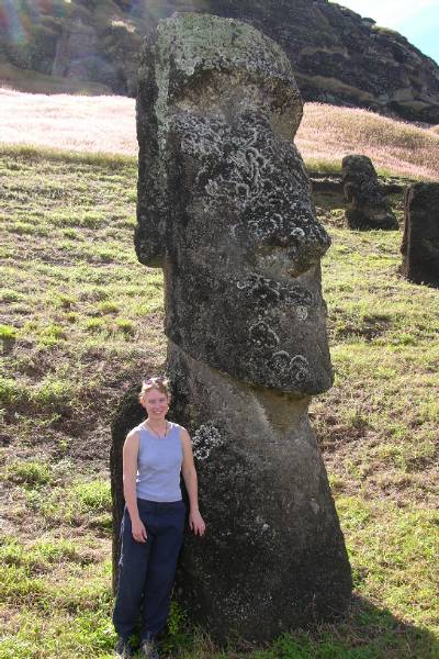 Claire next to a big head