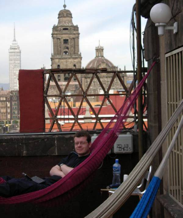 Hammocks at Hostel Moneda, Mexico City